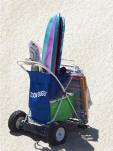 The Zoom Buggy fits cooler and chairs